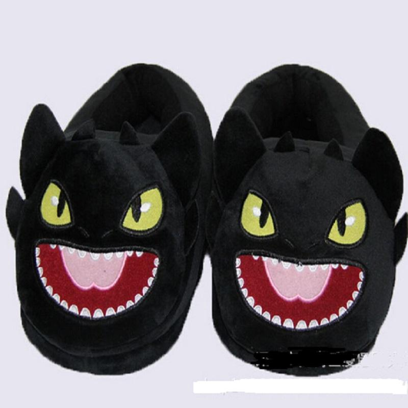 Dropshipping desdentado Train Dragão DreamWorks Cotton Plush chinelos casa quente Chinelos Train Your Dragon Black Dragon NightFury