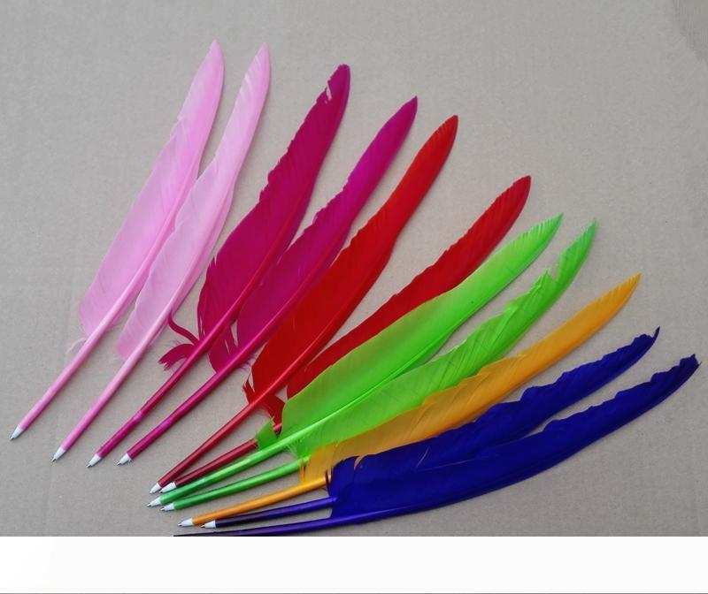 A 100% NEWDIY Popular goose quill pen ballpoint pens For Wedding Party Gift pen