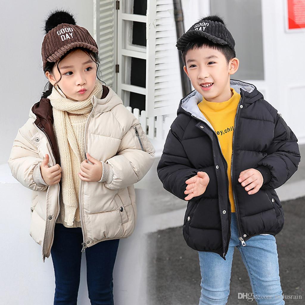 Winterjacke Kinder beschriften Knopf Warm Mädchen Jungen mit Kapuze Jacken-Oberbekleidung Mäntel Baby-Winterjacke Snowsuit