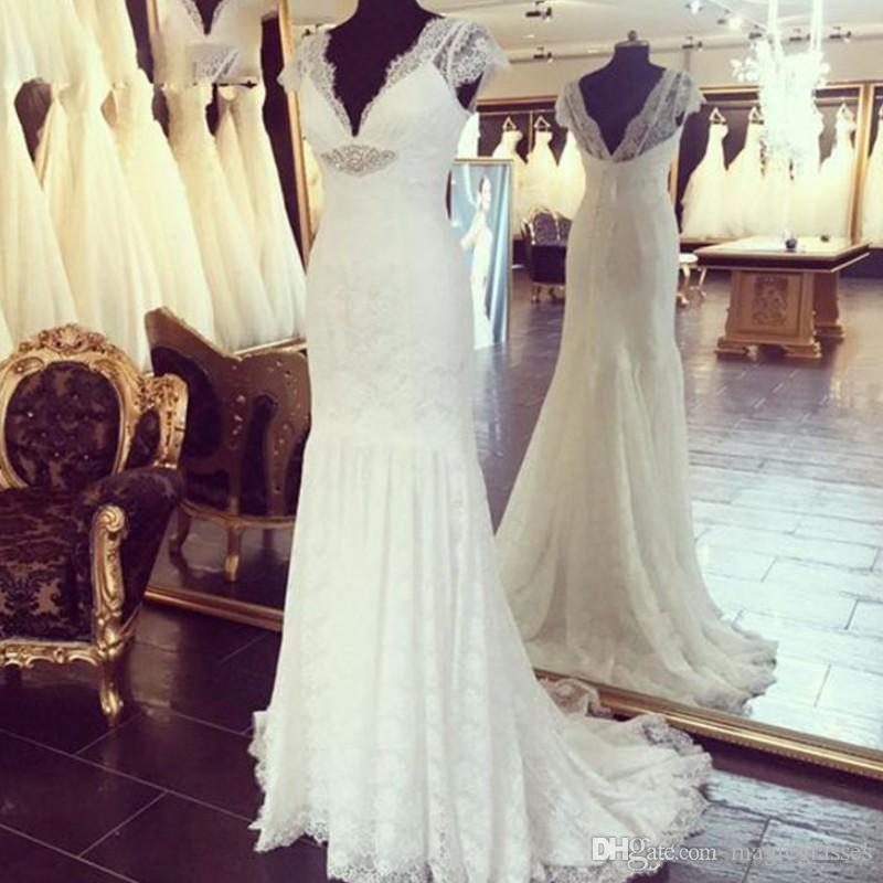 White Lace V-Neck Mermaid Wedding Dresses 2019 Elegant Vintage Style Mermaid Bridal Gown Sexy Boho Vestido De Noiva Wedding Gowns