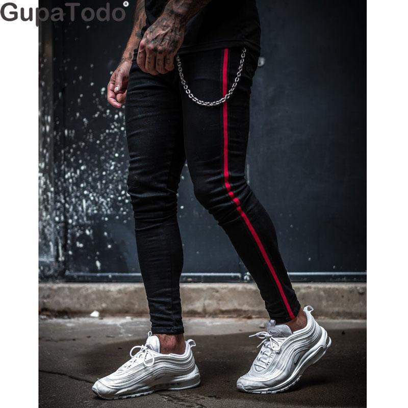 GupaTodo Mens Stretch Denim Calças Slim Fit Zipper Jeans Calças