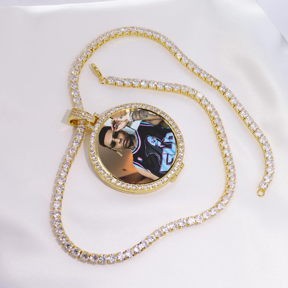 Foto redonda Custom Made Foto Medalhões Pendant Imagem Colar Tênis Corrente de Ouro Prata cúbica de Homens Zircon Hip Hop Jewelry
