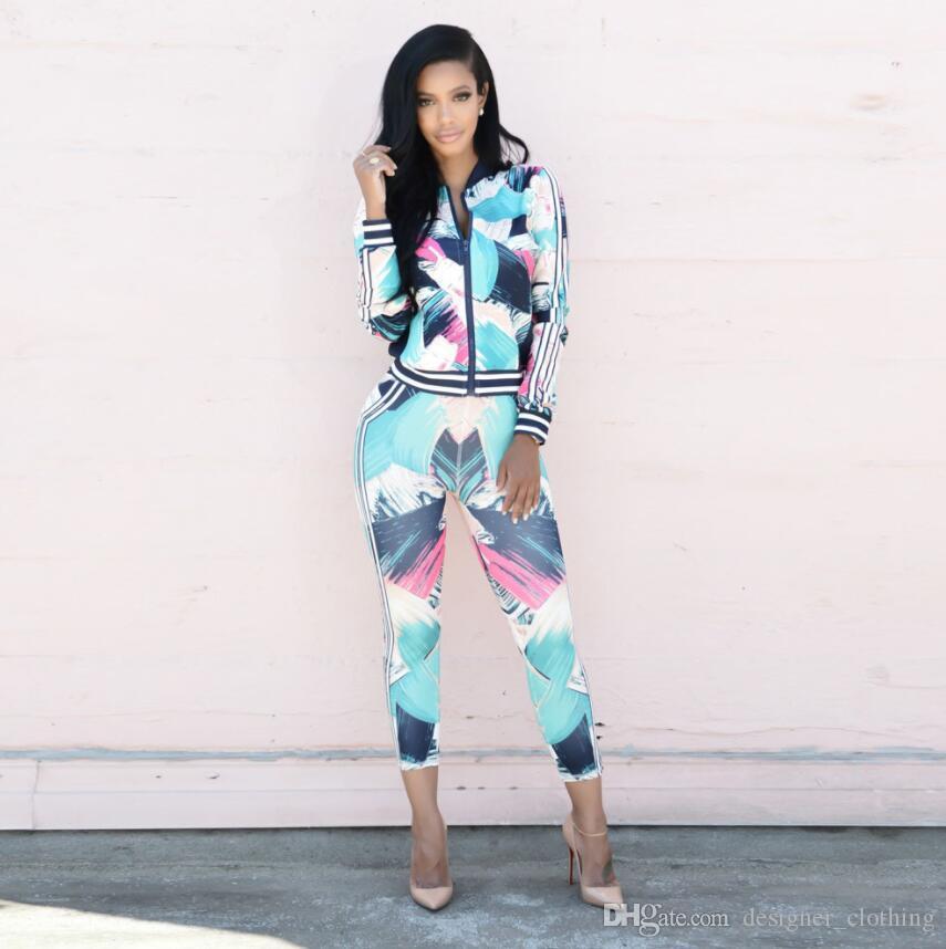 gündelik spor Sıcak yeni fitness giyim dijital geometrik baskı renk spor takım elbise Moda kadın Koşu Giyim