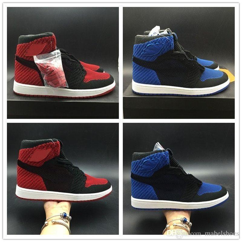 Basketball-Schuhe 1s Fly Knitting Bred Rot Blau Schwarz 2019 Mens Super-Limited Edition Sport-Turnschuhe mit Kasten