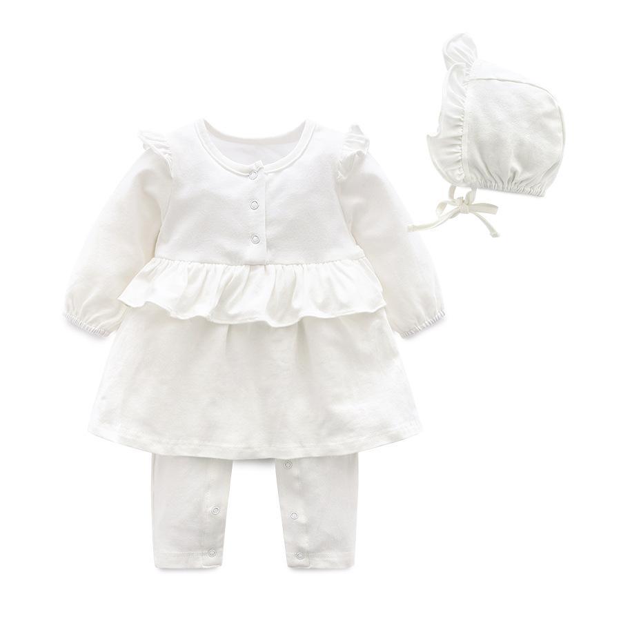 2018 della molla vestiti della neonata principessa bianca e rosa 1 ° buon compleanno vestiti del bambino parte importati bambino del cotone ragazza tuta