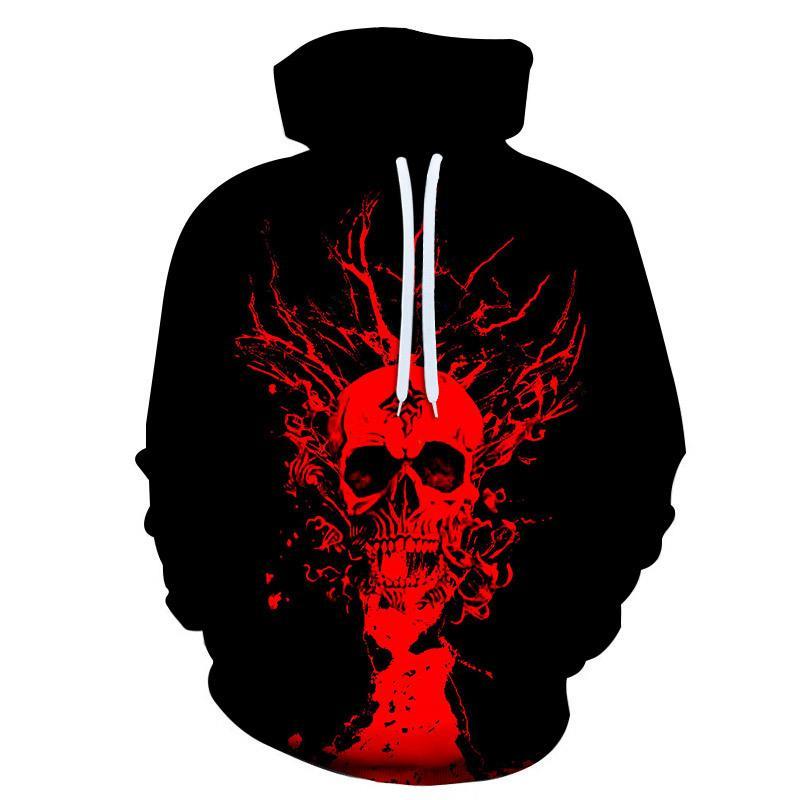 nova Hoodies homem 3d caveira vermelha impressão camisola do Hoodie dos homens de Hip Hop pulôver Tops homens hoody mangas compridas