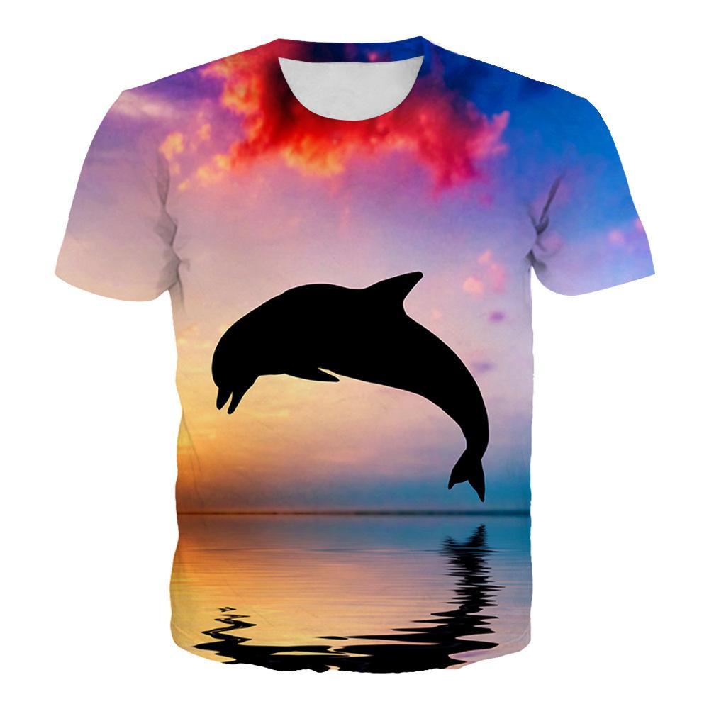 Лето Новая футболка Ocean World Fish 3D цифровой печати круглый Mens способа шеи с коротким рукавом Повседневная рубашка