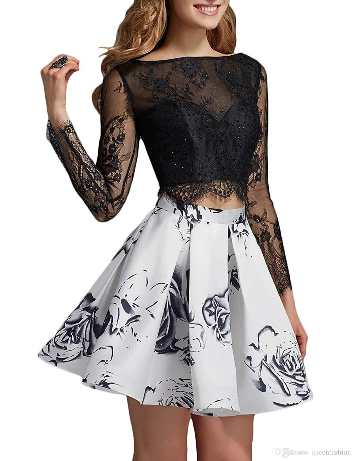 Short Floral Prom Graduation Gowns 3D Flower Two Pieces Homecoming Dresses Crop Top Cocktail Party Dresses