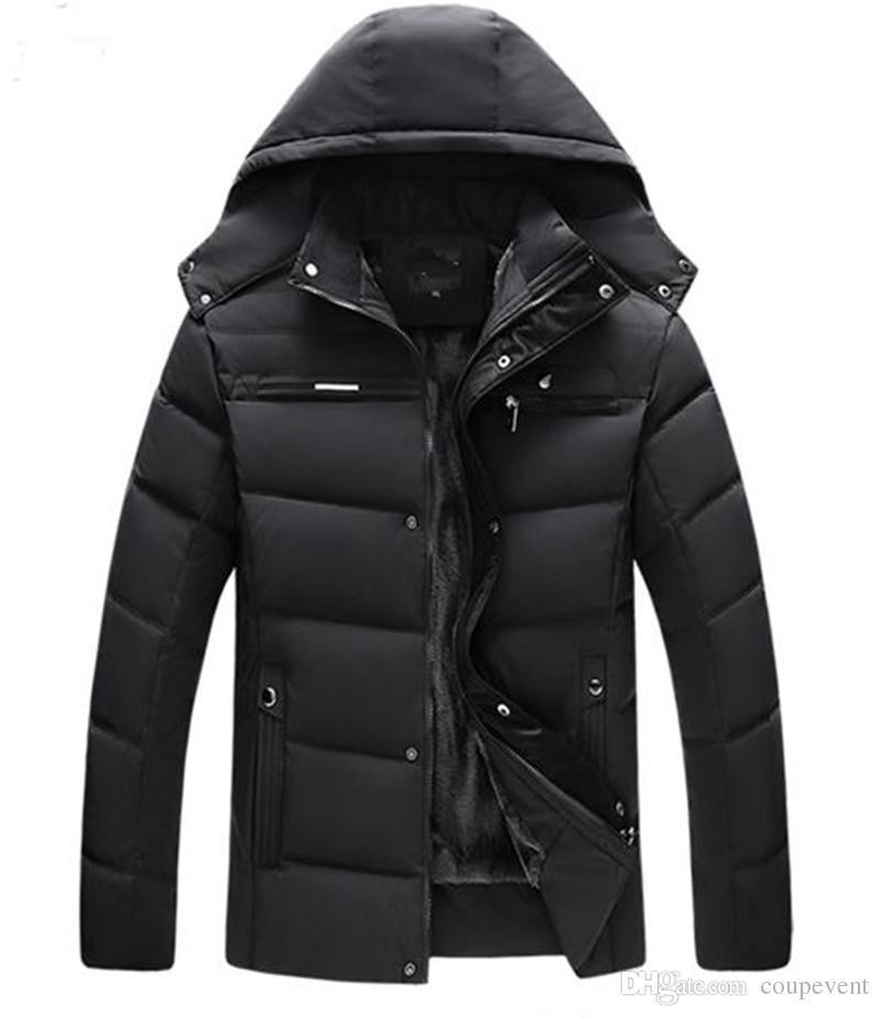Moda Uomo Piuma cappotto caldo di inverno dei cappotti Zipper casuale incappucciato solido di colore giacca spessa Abbigliamento maschile