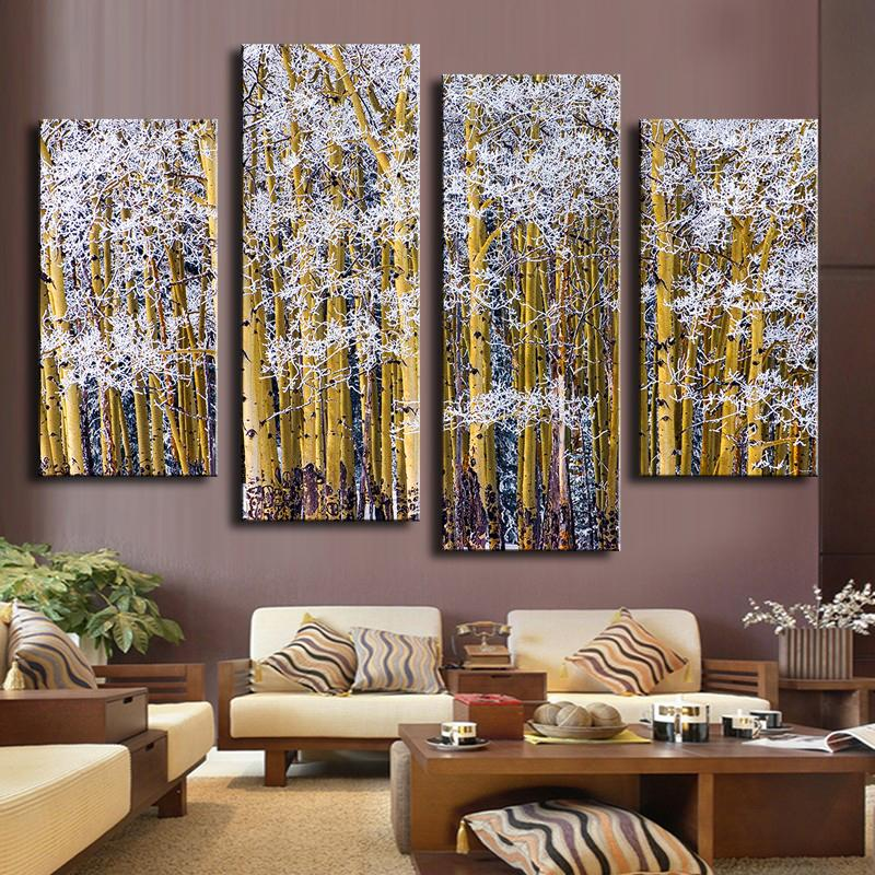 4 Piece Colorado Frosted Aspens Wall Painting Print On Canvas For Home Decor Ideas Paints On Wall Pictures Art No Framed
