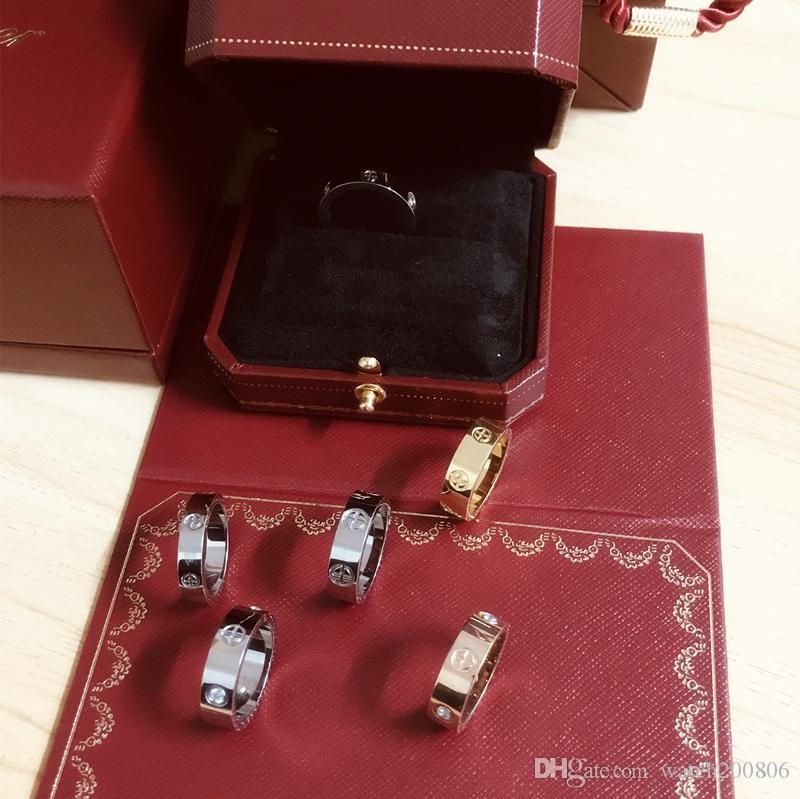 Love Rings screw titanium steel Anelli diamantati La moda europea e americana si riferisce a coppie di anelli in oro rosa con scatola regalo Top originale