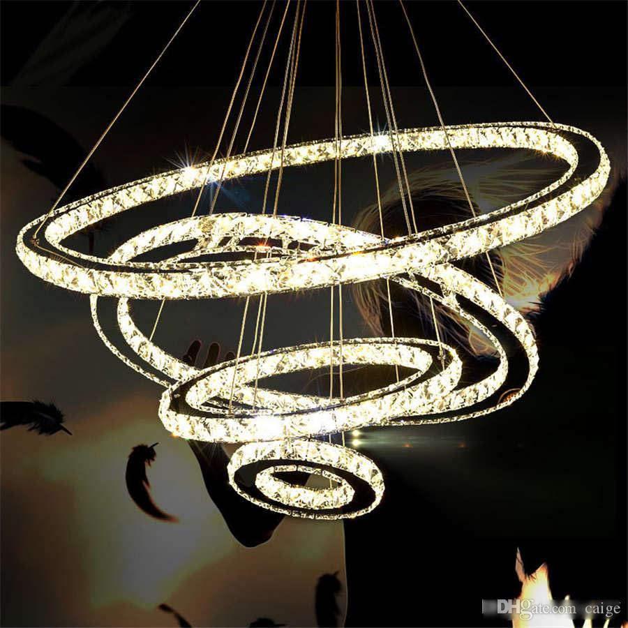 3 خواتم الحديثة الصمام ضوء قلادة الفولاذ المقاوم للصدأ دائرة كريستال مصباح معلق للنوم غرفة المعيشة LED بريق الديكور الداخلية
