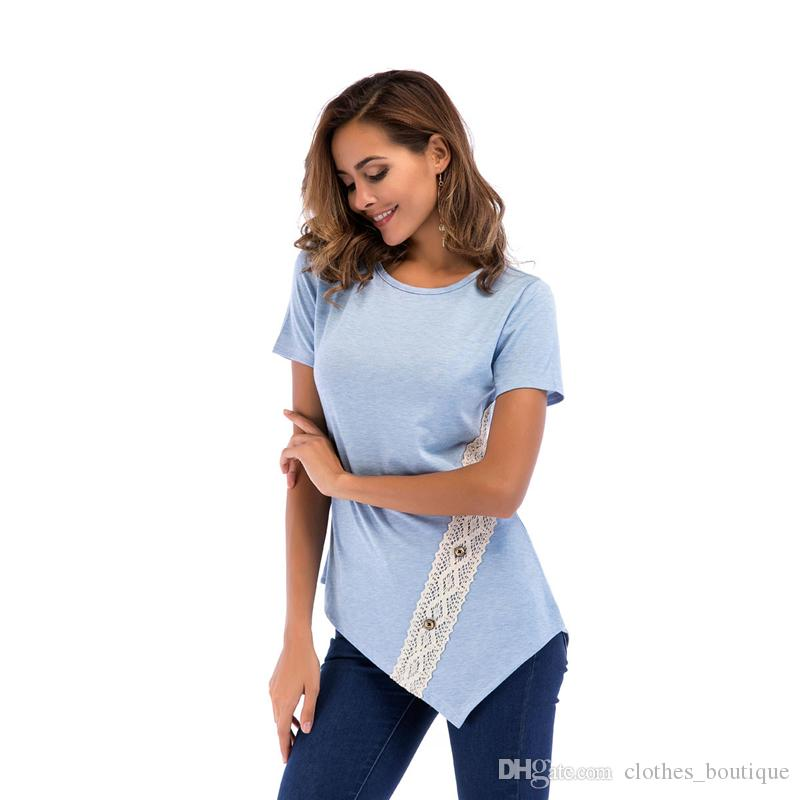 Women Long Sleeve Plus Size Blouses Tops Round Neck Button Side Tunic T-Shirt Blue