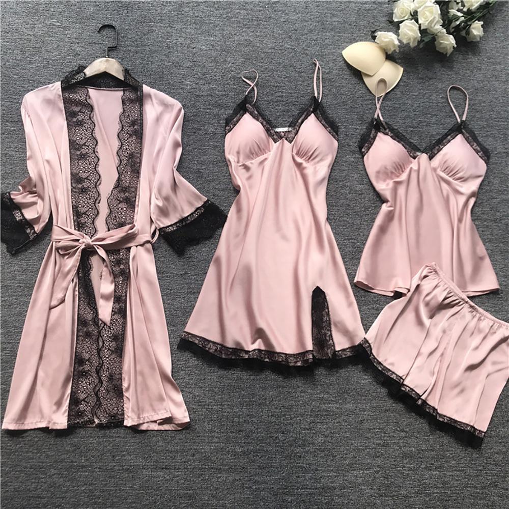 Sexy Frauen Bademantel-Kleid-Sets Spitze Bademantel + Nachtkleid 4 Vier Stücke Nachtwäsche Frauen Schlaf-Set Faux Silk Robe Femme Lingerie T200111