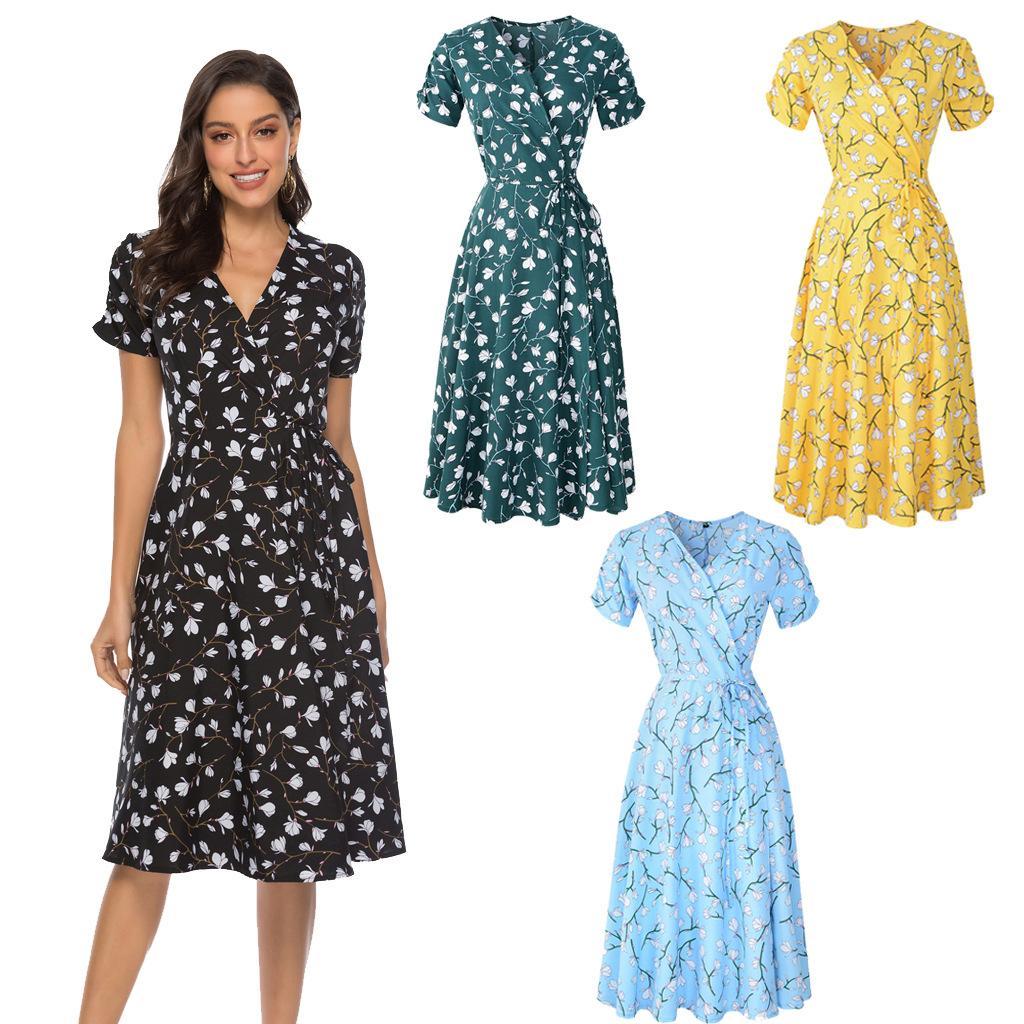 2020 Frauen-böhmische Strand-Kleid 4 Farbe Frühling und Sommer New Chiffon Printed Big Swing-Kleid XD23435