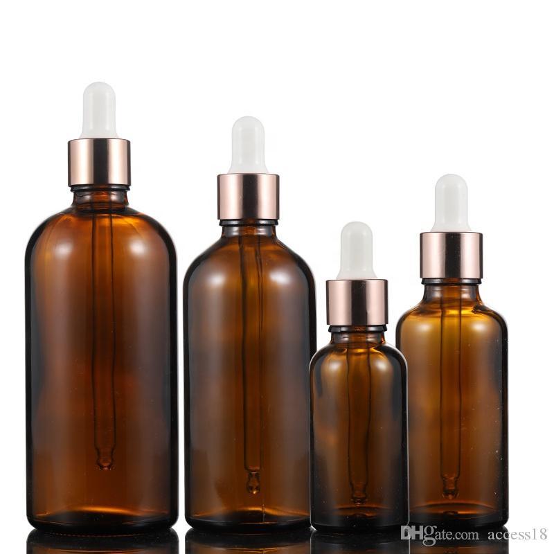 Alta calidad 5 ml-100 mL botellas cuentagotas vacías ámbar aceite esencial vidrio aromaterapia botellas líquidas para embalaje de suero cosmético