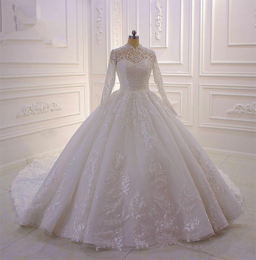 Роскошные мусульманская Длинные рукава 2020 бальное платье свадебные платья высокого шеи Кружева аппликация Бисероплетение Плюс Размер Свадебные платья халата де mariée