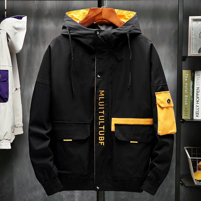2019 nuevo estilo camisa de la chaqueta Inglés Impreso Corea del estilo Fit Multi-bolsillos con cremallera guapo manga largas de la moda
