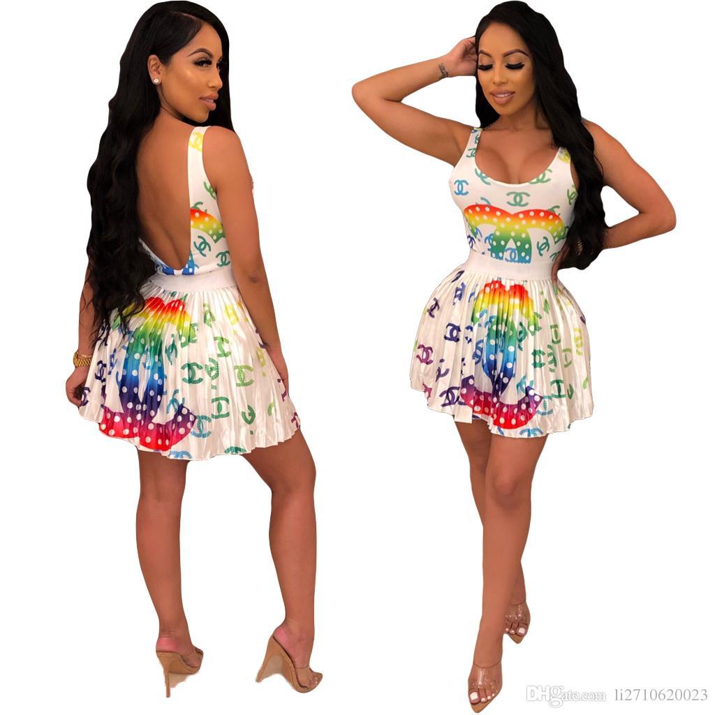 화려한 편지 인쇄 된 점프 수트 수영복 짧은 치마 2 조각 세트 2019 여름 Streetwear 여성 의류 캐주얼 Rompers 비치 미니 드레스
