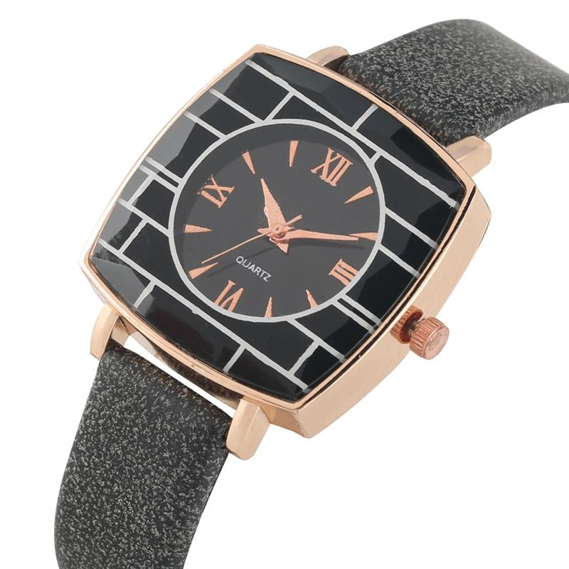 Chic Roman Numeral Dial Wristwatch Graceful Square Case Quartz Analog Watch for Women High Quality Matte Leather Strap Watches