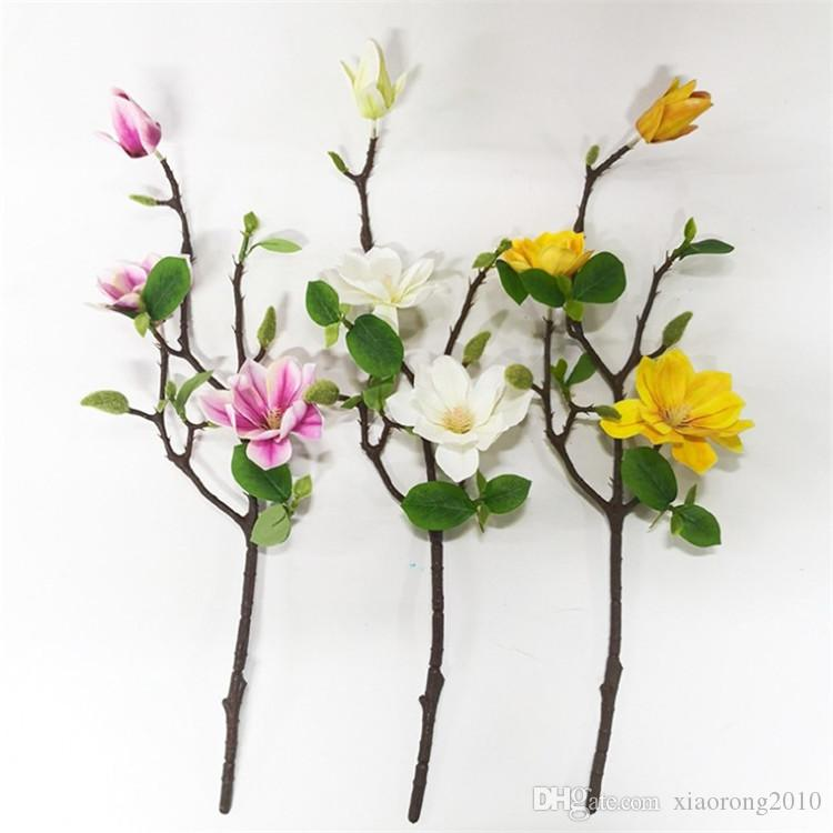 Stem of Faux Silk Flowers 1 Short Branch of Realistic White Artificial Magnolia
