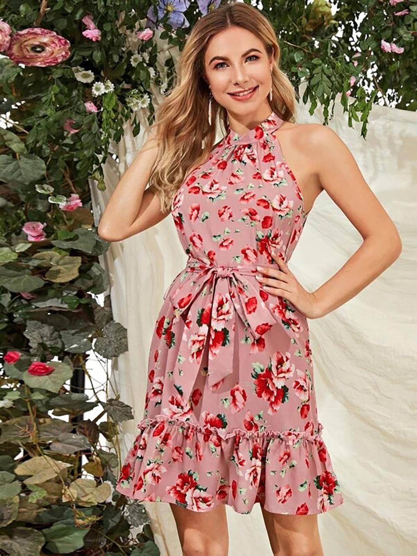 2020 Une ligne Imprimer été d'Europe et d'Amérique Nouveau Doux Simple manches Bow à lacets imprimés Fleur Maiden Rose Femmes Robes