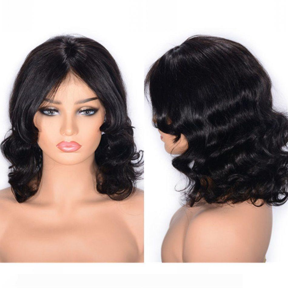 Peruvian Virgin Hair Lace Front Wig Natural Color Wavy Human Hair Lace Wig 130% Density Medium Size Cap
