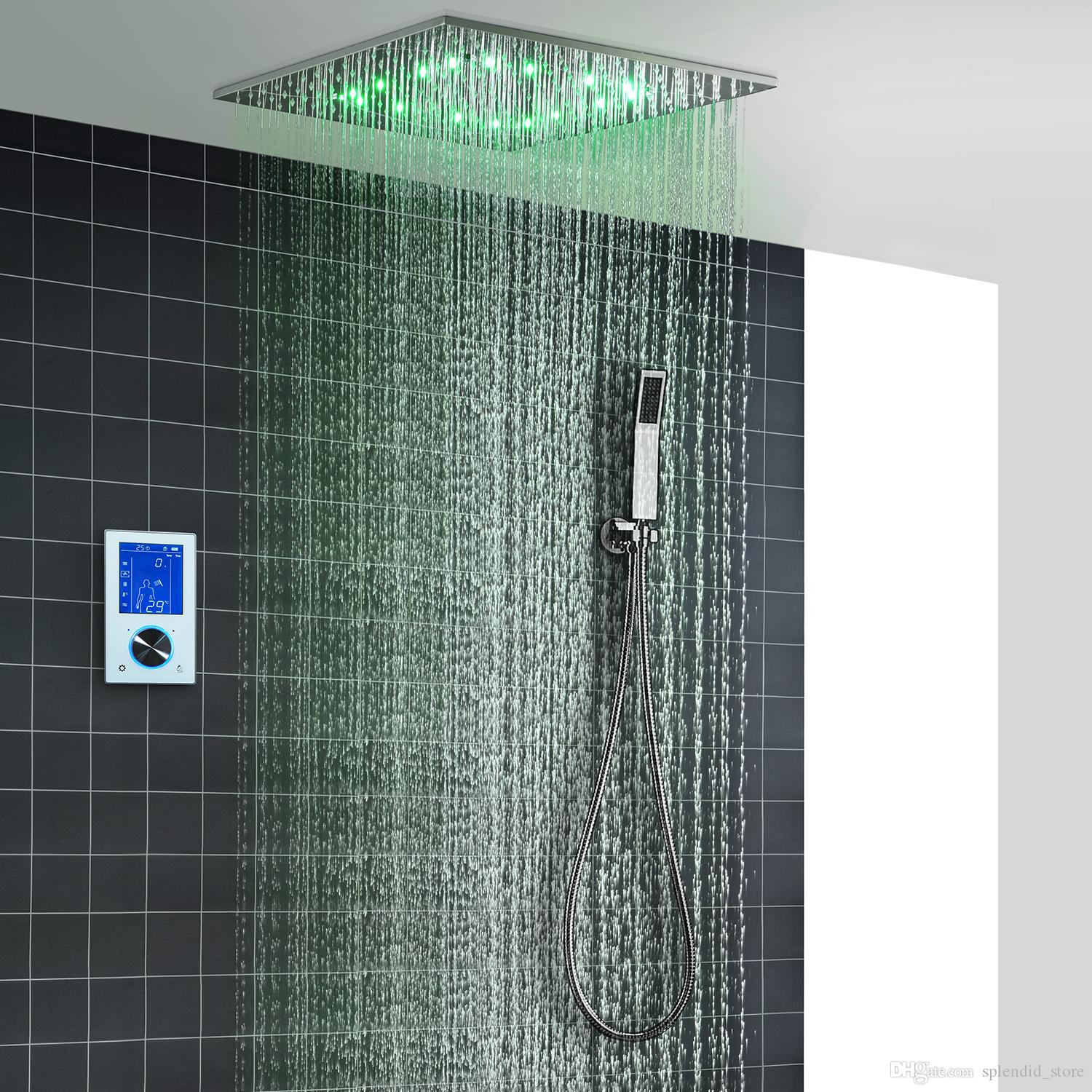 2019 2019 Digital Shower Faucets Set Thermostatic Led Ceiling Mounted Big Rain Spa Misty Showerhead Hand Shower 20 Inch Shower From