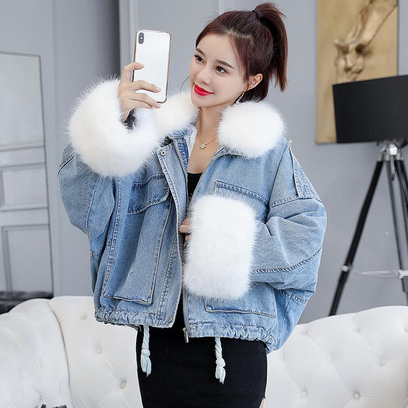 메이크업 겨울 한 판 느슨한 두껍게 무거운 머리 봉 방광 주도 카우보이 당사자는 여성면 짧은 코트를 극복