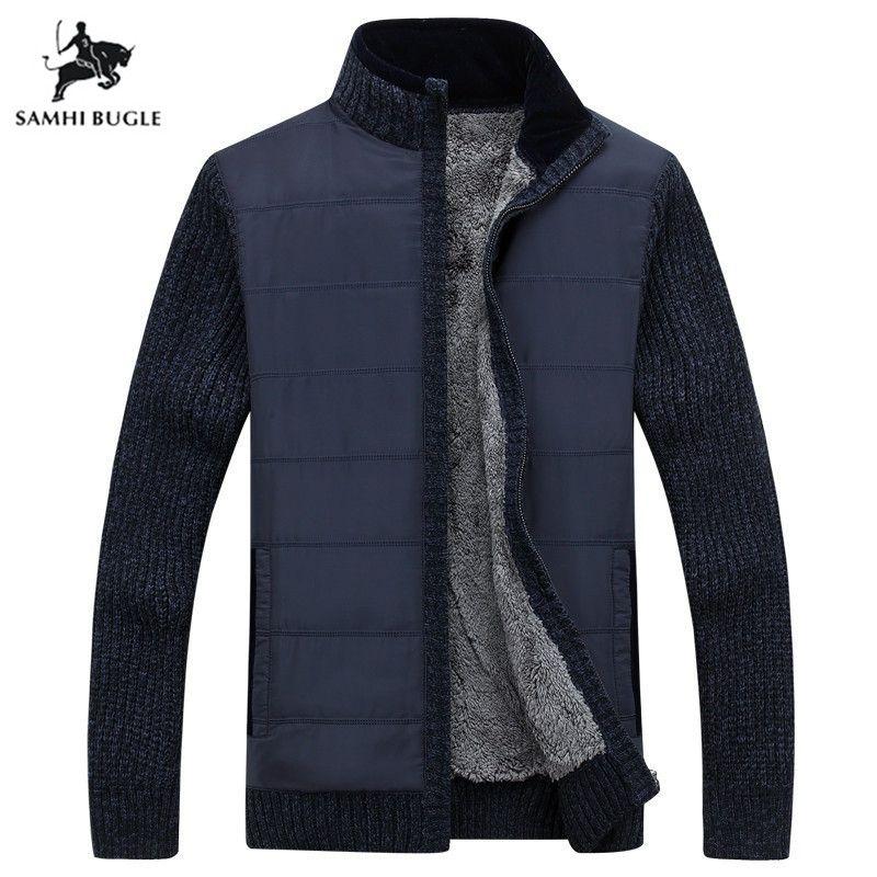 Marca camisola Men 2019 Chegada Nova Inverno Men Sweater suporte Jacket Collar militar do exército Verde Cardigan Men Thicken velo T200506