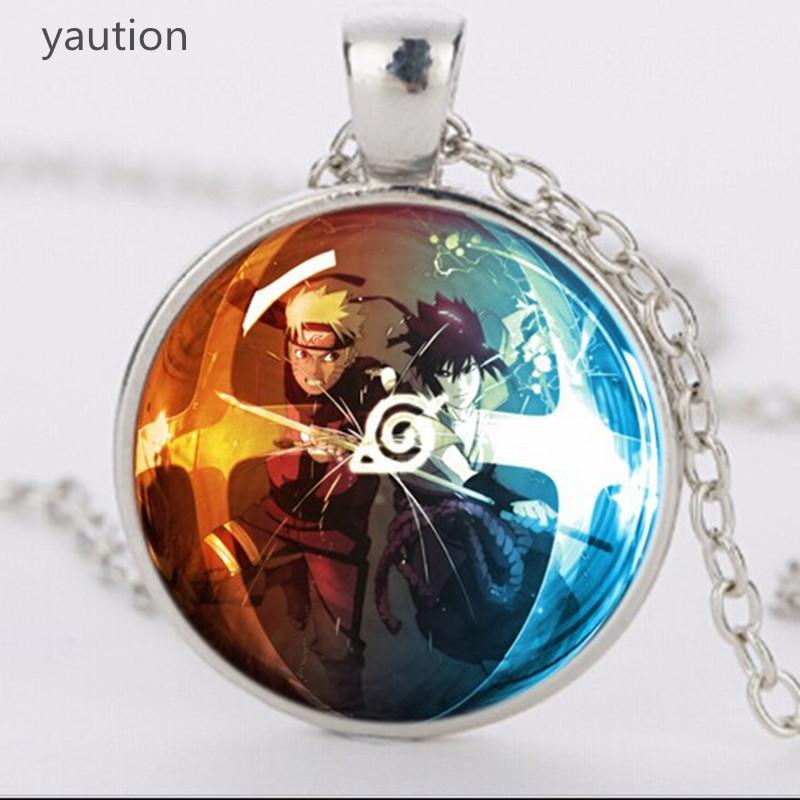 20pcs New Design Classic Glass Dome Necklace 3 Colors Chain Jewelry Anime Theme Ninja Naruto C19041203