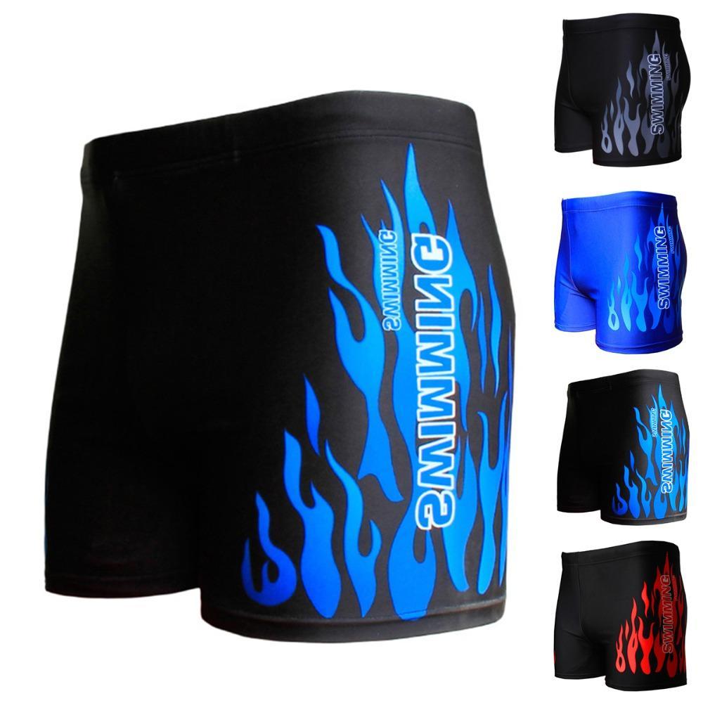 2019 neue Flamme Muster-Männer Männliche Schwimmen Bademode Boxershorts Badeanzug Badehose Schwarz Blau Beach Wear Briefs Badeanzug Bademode