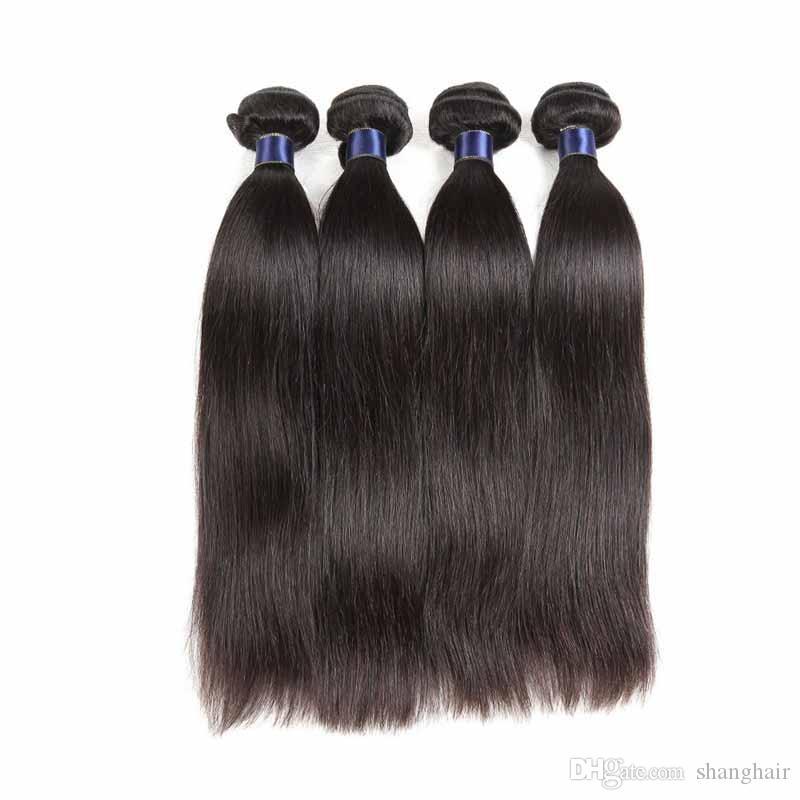 8A البرازيلي بيرو الماليزية الهندي العذراء الشعر مستقيم الطبيعية السوداء 3 أو 4 حزم ريمي الشعر الإنسان ملحقات مستقيم 50 جرام / قطع
