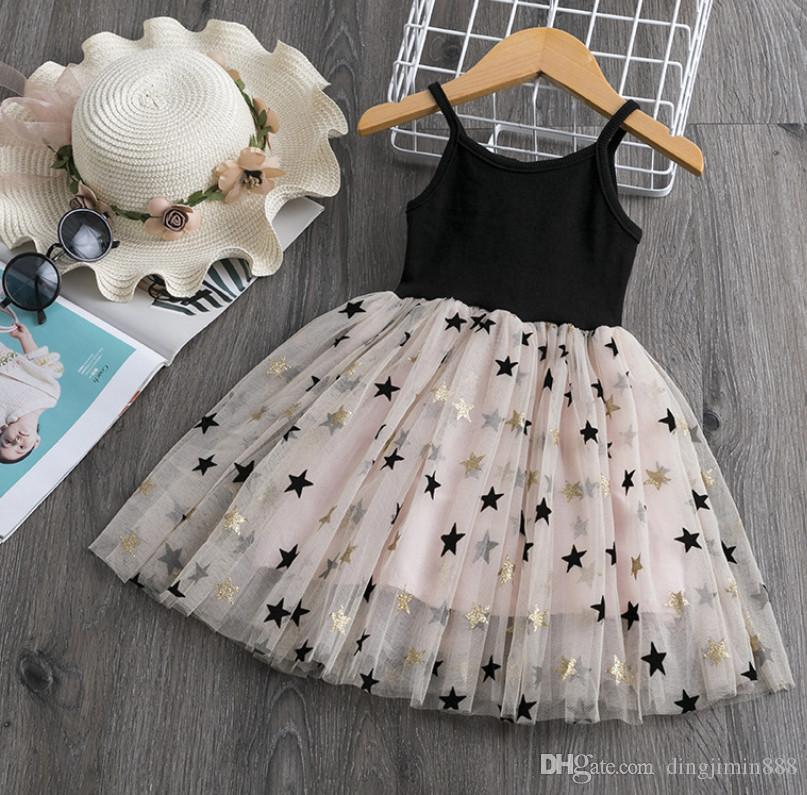 Baby-Spitze Tulle Riemen-Kleid Stern Pailletten-Kleid-Kind-Hosenträger-Mesh-Tutu Prinzessin Kleider 2019 Sommer Boutique Kinderkleidung