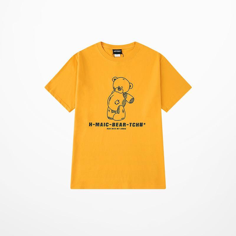 Japanese Style Green T Shirt Men Cartoon Bear MAIC Print T Shirts Men And Women 100% Cotton Tide Brand Orange Short Sleeve Tee T200617