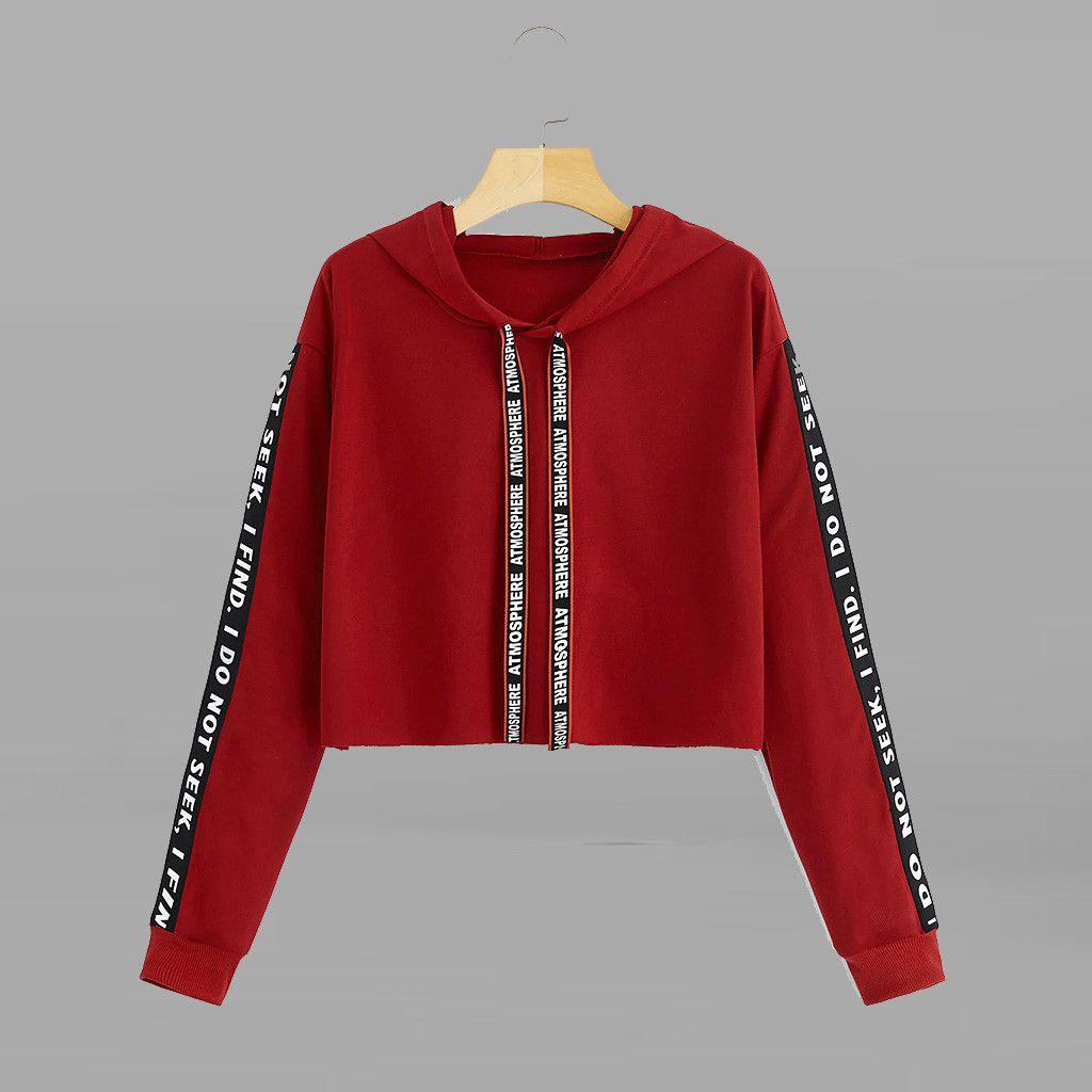 Femmes Sweats à capuche Sweat-shirt Automne Crop Top manches longues Sweat à capuche lettre d'impression Pull Top femmes manteau Sweat hoodies