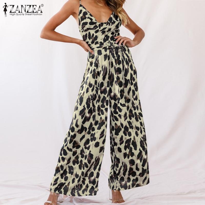 ZANZEA imprimé léopard Salopette femmes Spaghetti Sexy Tenues d'été Bracelet Femme Combinaions V col large Pantalon jambe Taille Plus