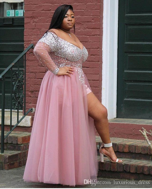Plus Size African Black Girl Long Prom Dress V Neck Heavy Beaded See  Through Top Long Sleeve Pink High Slit Prom Dresses 2019 Abendkleid Plus  Size ...