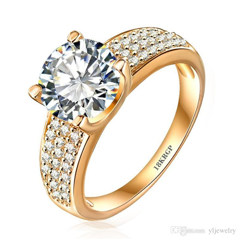 Fashion 24K Gold Filled Wedding Rings For Women Engagement Jewelry Vintage Ring Zirconia Accessories R0010
