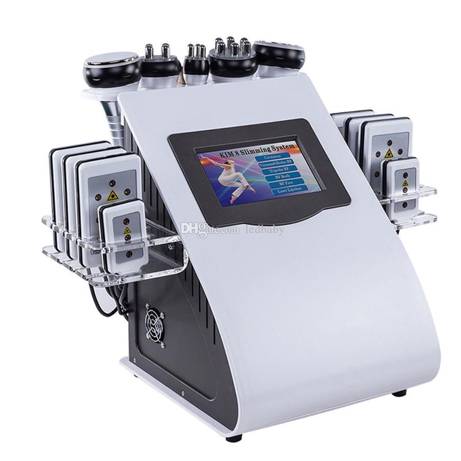 40K 6 في 1 الموجات فوق الصوتية شفط الدهون الضغط السلبي ثنائي اللون تردد الراديو صك الليزر فقدان الوزن الألياف جهاز الجسم