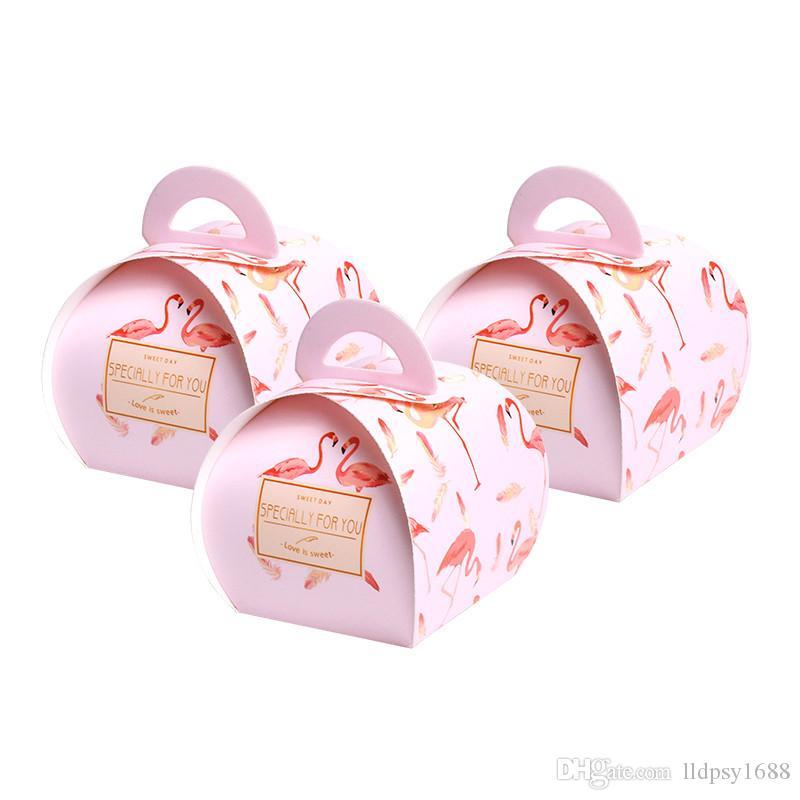 Flamingo pembe şeker kutusu Düğün Favor Hediye Kutusu Ve Şeker Kutuları Parti Doğum Bebek Çikolata Paketi Kağıt Kutular Malzemeleri
