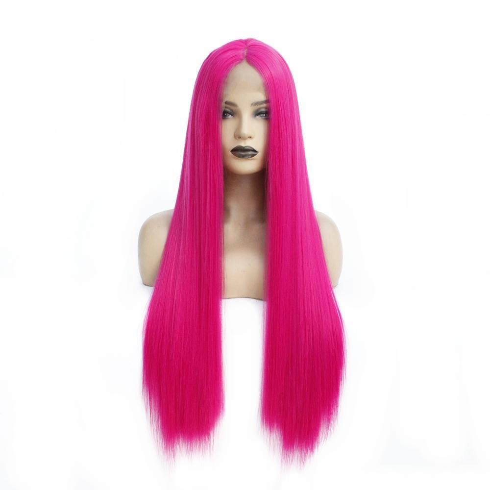 Gül Kırmızı Renk Uzun Düz Isıya Dayanıklı Saçlar Tutkalsız Sentetik Dantel Açık Peruk Orta Kısım Tied El Cosplay Drag Kraliçe