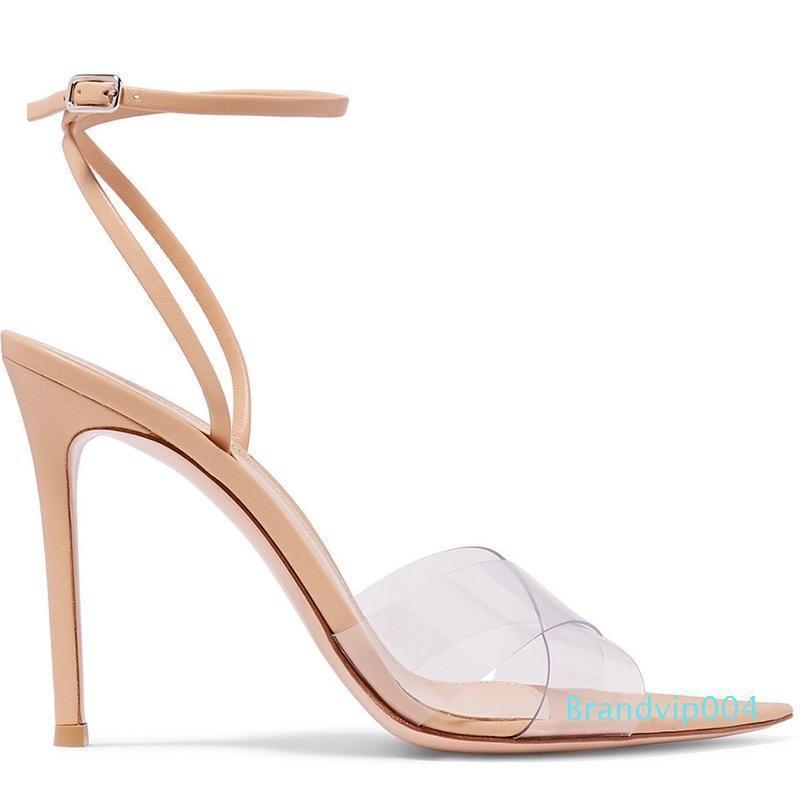 Amazing2019 Farbe Nude Film Crossing Bringen Cavity fein mit einzelnen Schuh Eine Schnalle Sandalen Frau