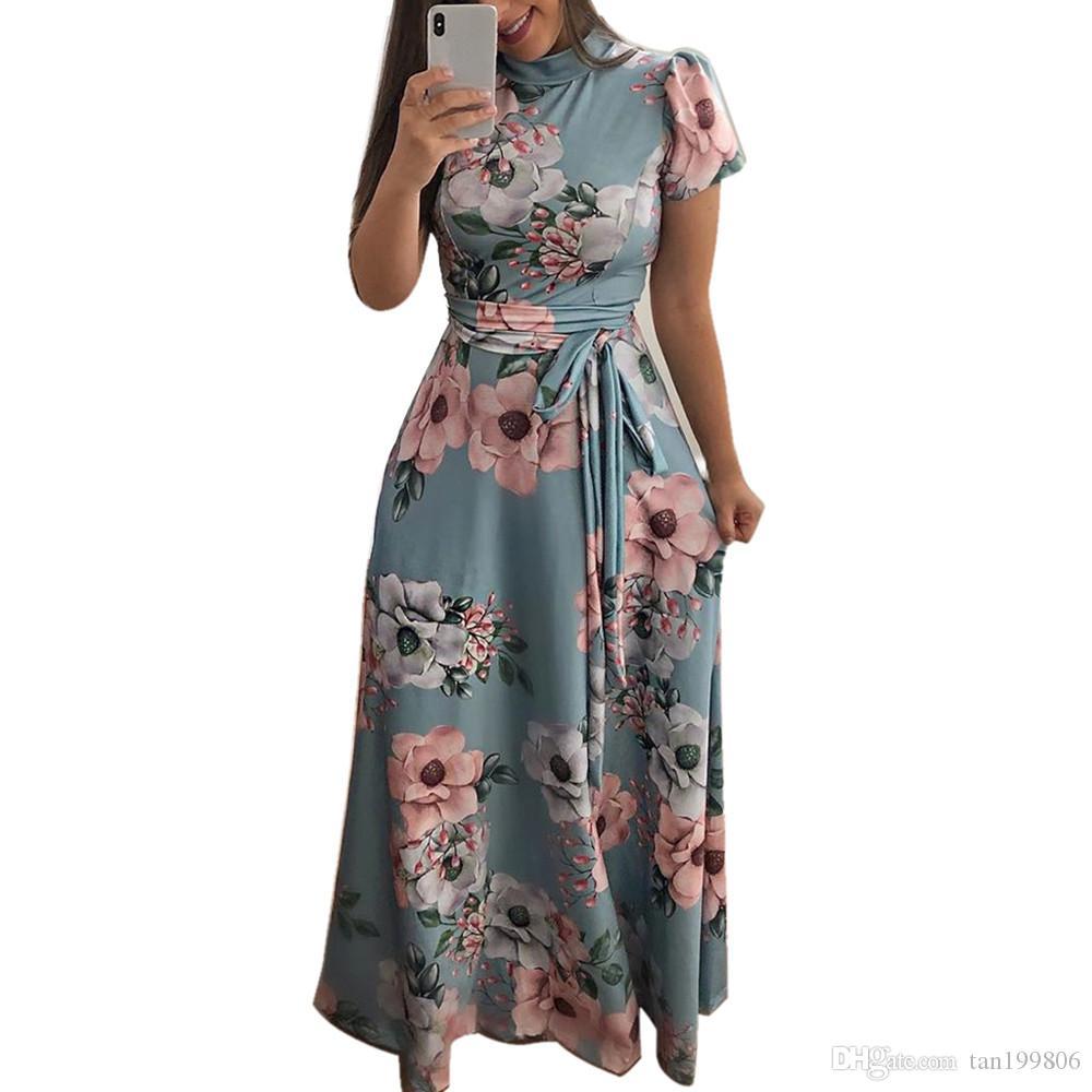 2019 dames robe de mode col rond empire floral ceinture robe à manches courtes dames robe bandage décontracté