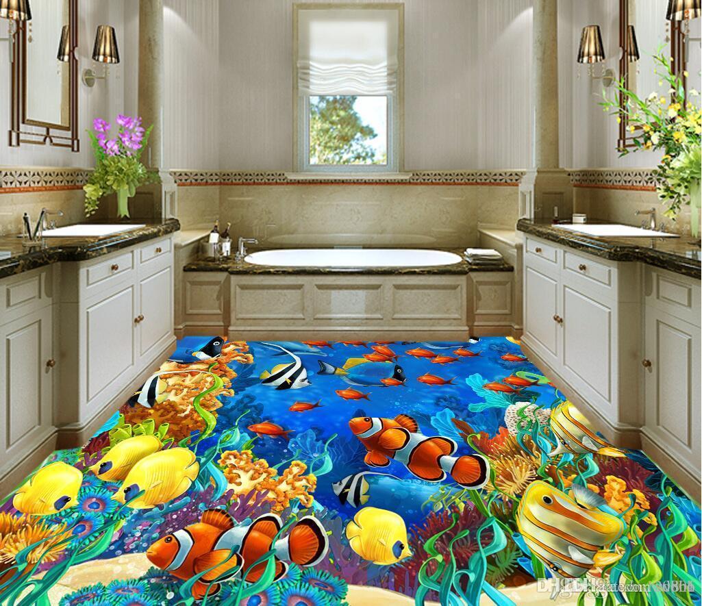 Pvc 3d bodenbelag kundenspezifisches Foto Wasserdichter Fußboden Raumseewelt tropische Fische waschbare Tapete Wandgemälde 3d Tapete für Wände 3 d