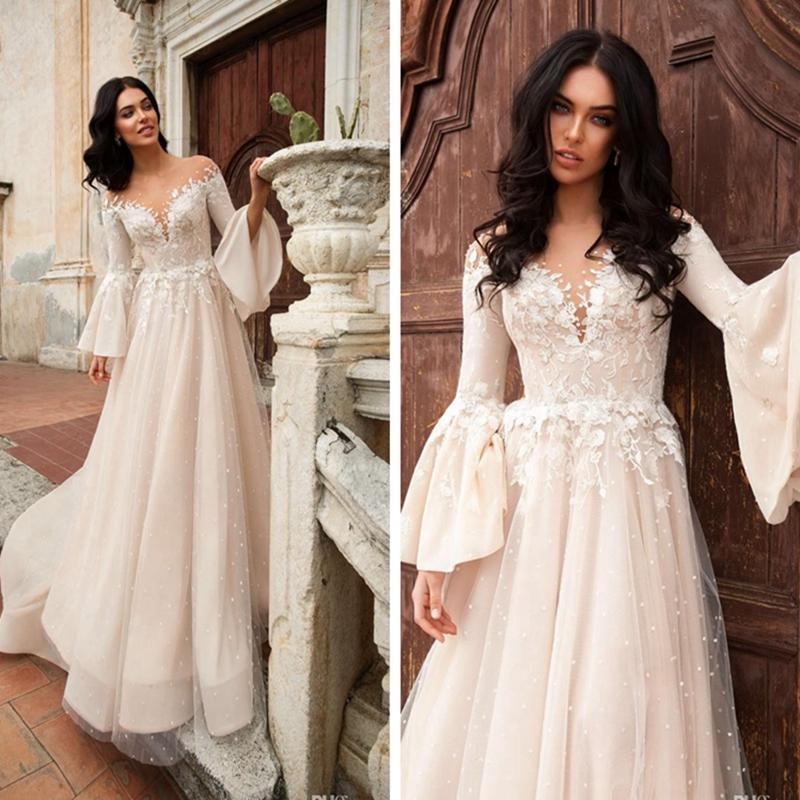 Exquisita Sheer cuello de Bohemia del vestido de boda Appplique una línea de vestidos largos con tribunal tren vestido de novia de invierno largo de la manga