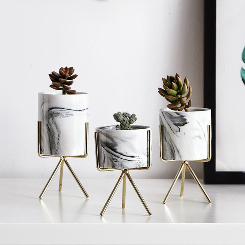 Nordic Minimalism Style Marble Pattern Golden Ceramics Iron Art Vase Tabletop Flower Pot Home Wedding Living Room Decoration