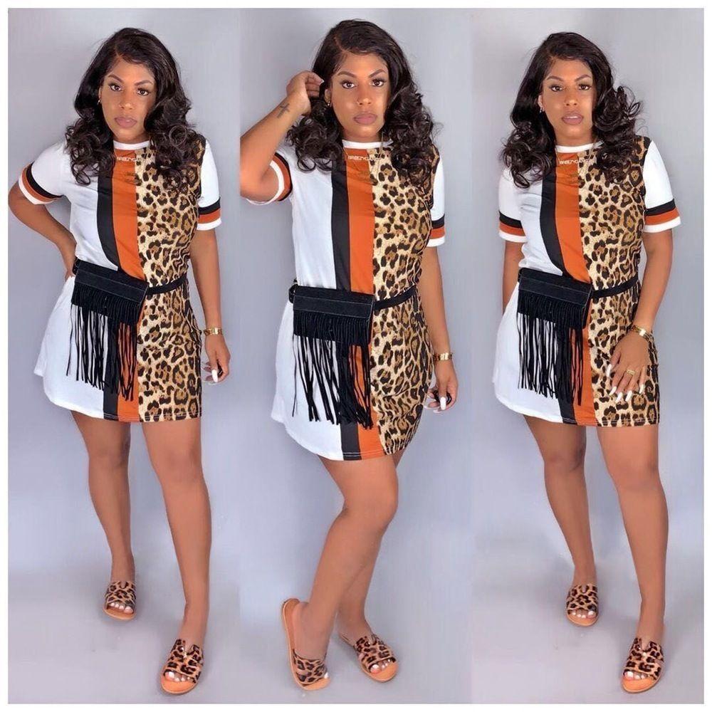 2020 Kadınlar Yeni Yaz Elbise Çizgili Leopar Baskı Kısa Kollu O-boyun Mini Günlük Elbiseler Moda Steetwear Düz vestidos