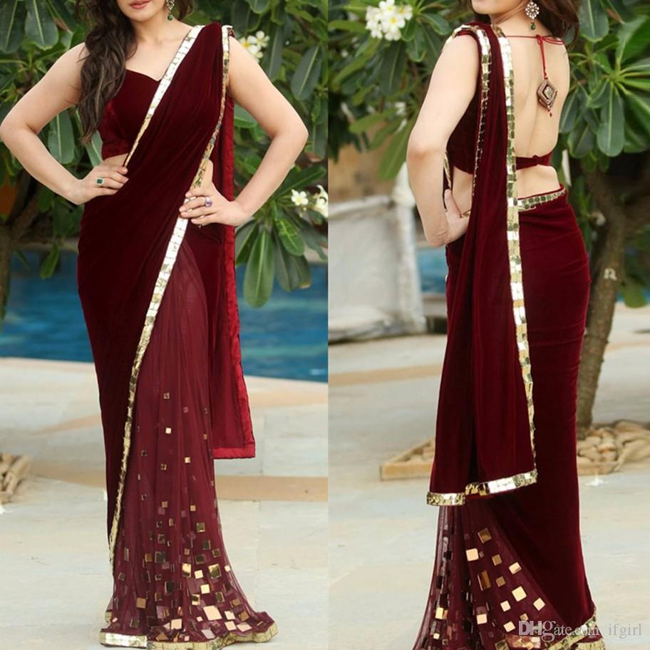 Burgundy Velour Saree Mermaid Evening Dresses 2019 Sexy Backless Long Prom Gowns V-neck India Party Dress Robe De Soiree