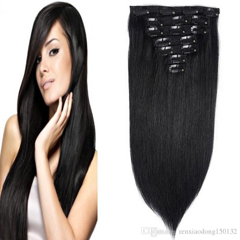 100g Clip In Haarverlängerungen Gerade Natürliche Indische Remy Haarspange Ins Echt Jungfrau Haarverlängerungen Clip In 8 stücke